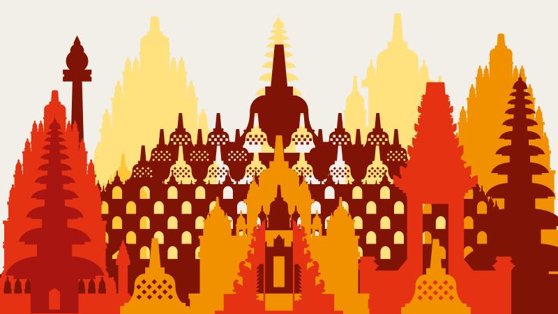 Indonesia illustration of buildings